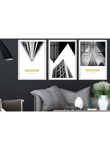 Çerçeve Home  Architectural Movent Beyaz Çerçeve Tablo Seti Beyaz